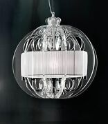 Suspended Lights Classic With Acrylic Clear And Lampshade White