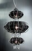 Suspended Lights Classic Chrome With Lampshade Black