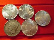 1921-1925 Peace Dollars All Philadelphia Dates First 5 Years