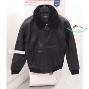 Abercrombie And Fitch Shearling Collar Leather Jacket Coat Black Mens Size Medium