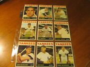 1964 Topps Complete N.y. Yankees Team Baseball Set W/two Mantle And Ws Cards