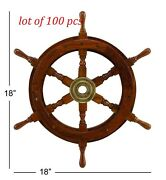 Nautical Vintage Handmade Brass Antique Wooden Ship 18and039and039 Wheel Maritime Decor