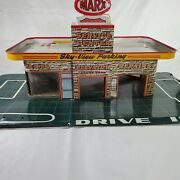 Large Vintage 1950's Marx Service Center Gas Station 26 Metal Toy. Good Conditi
