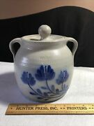 Salmon Falls Stoneware Pottery Crock Cover Canister With Handles Flowers 1998yr