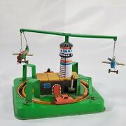 Wind Up Tin Toy Vintage Litho Plane, Car, Motorcycle, And Lighthouse
