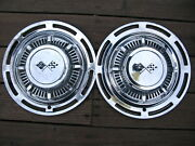 Vintage Chevy 1960 Chrome Hubcaps X2 14 Impala Wheel Cover Rally Crossed Flags