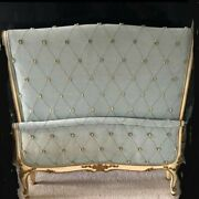 Vintage French Provincial Upholstered Twin Bed Headboard Footboard