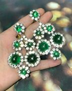 Gorgeous Kenneth Jay Lane Glowing Simulated Emerald Clip-on Earrings 3.3x1.8