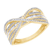0.50 Cttw Natural Diamond Crossover Engagement Band Ring 14k Yellow Gold