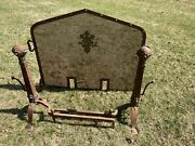 1920's Vintage Antique Cast Iron And Brass Fireplace Screen With Andirons