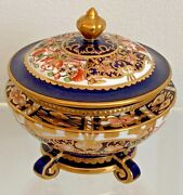 Extremely Rare Royal Crown Derby 6299 Derby Witches Pattern Round Pedestal Box