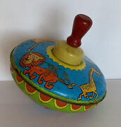 Vintage Ohio Art Tin Spinning Too Toy Zoo Animals Multicolored