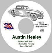 Austin Healey 3000 And 3000 Mk Ii Factory Parts Manual - Bn7 And Bt7 On Cd-rom
