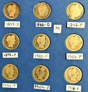 9 Barber Quarter Silver Coins 1895-s 1896-o 1898-p 1899-p 1900-oand More M