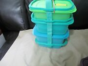 New Tupperware Crystalwave Set-carrier And 3 Microwave Reheatable Containers