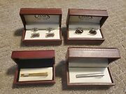 Lot Of 4 Cufflinks And Tie Clips - Brand New In Box - Two Sets