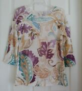 Chicoand039s Size 1 Sweater Pullover Womens M/8 Light /4 Sleeve Ivory Jacobean New