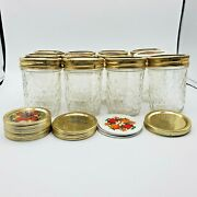 Ball Quilted Jelly Jars Crystal Glass Lids 8 Oz Canning Jar Lot Of 12 Plus