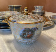 Beautiful German Hand Painted Madonna Porcelain 58 Pieces Dinner Set For 12