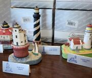 Lot Of 6 Spoontiques Light Houses Florida Maine Virginia W Original Boxes, Tags