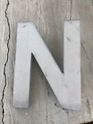"""Large """"n"""" Vintage Industrial Store Salvage Sign Heavy Metal 16"""" Letter Outdoor"""