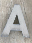 """Large """"a Vintage Industrial Store Salvage Sign Heavy Metal 16"""" Letter Outdoor"""