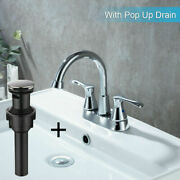 Bathroom Sink Faucet Lavatory Drain 3 Hole 2 Handle Mixer Tap With Pop Up Drain