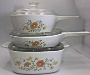 Corning Ware Wildflower Casserole Dishes Set Of Three With Lids