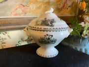 Small Victorian English White And Black Ironstone Pottery Lidded Tureen Children