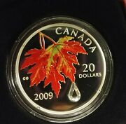 2009 20 Fine Silver Coin Crystal Raindrop Royal Canadian Mint