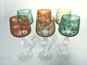 Vintage Bohemian Crystal Cut To Clear Colored Set Of 6 Wine Stem Glasses