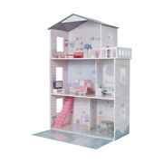 Girls Wooden 3 Levels Dollhouse With Furniture - Barbie Or Bratz Doll House F4