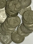 1945 Canada 1 Roll Of Silver Quarter 25c Circulated 40 Pieces