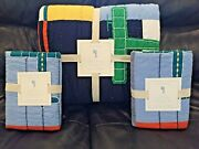 New Pottery Barn Kids Airplane Plane Icon Full/queen Quilt And Euro Shams