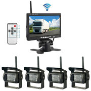 4pcs Wireless Camera 7 Monitor Reverse Kit Car Truck Front Rear Left Right View
