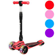 Kids 3 Wheel Scooter Light Up Wheels Childrens Height Adjustable Ride On Toy