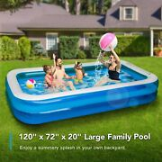 Inflatable Swimming Pool 120x72x20in For 1-5 Kids Kiddie Pools Family Swim Cente