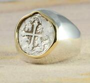 Authentic 1/2 Reales Treasure Cob Coin In Sterling Silver + 14kt Gold 1556-1598