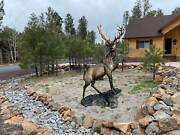 Elk On The Rock In Natural Color Aluminum Statue Head Turning Right