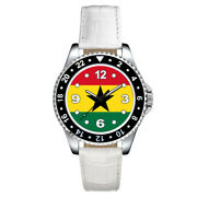 Republic Of Ghana Country Flag Unisex Mens Ladies Leather Band Wrist Watch