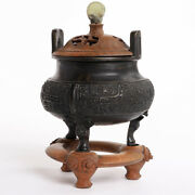 Antique 19th Century Chinese Bronze Censer Tripod Incense Qing Finial China