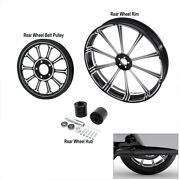18x5.5and039and039 Rear Wheel Rim Hub Belt Pulley Sprocket Fit For Harley Touring 08-21 20