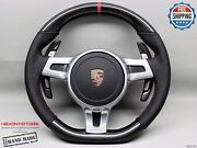 Porsche 911 997 991 958 Cayenne Panamera Red Perforated Carbon Steering Wheel V3
