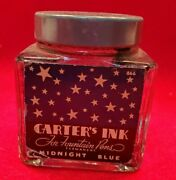Vintage Glass Carterand039s Ink Bottle Glass Midnight Blue With Lid