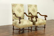 Pair Of Antique Hand Carved Oak French Chairs Tapestry With Fringe 36893