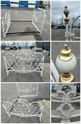 Antique Cast Iron Bed Frame - Painted White.