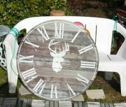Large Giant Wall Picture Clock Elk Deer Shabbu Chic For Parts Or Repair