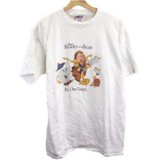 Z182 Vintage Oneita Disneyand039s Beauty And The Beast Tee Shirt Singe Stitch Xl