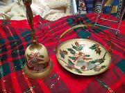Vtg Enamel And Brass 6 Hand Bell And 8 Basket - Christmas Holly Made In India