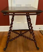 Antique Parlor/side Table Twisted Legs And Clawfoot